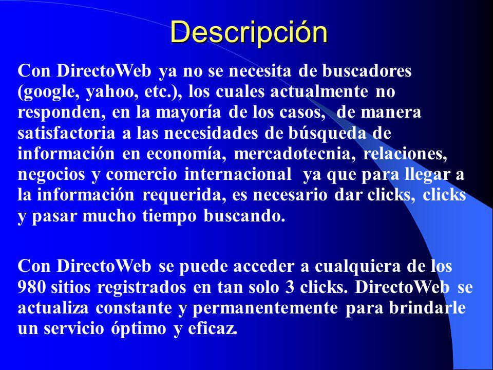 Descripción Directoweb contiene una selección de 980 sitios web tanto gubernamentales como de empresas privadas de reconocido prestigio en los que se encuentra información oficial, actualizada, validada, veraz y confiable.