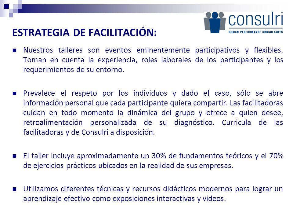 ESTRATEGIA DE FACILITACIÓN: Nuestros talleres son eventos eminentemente participativos y flexibles.