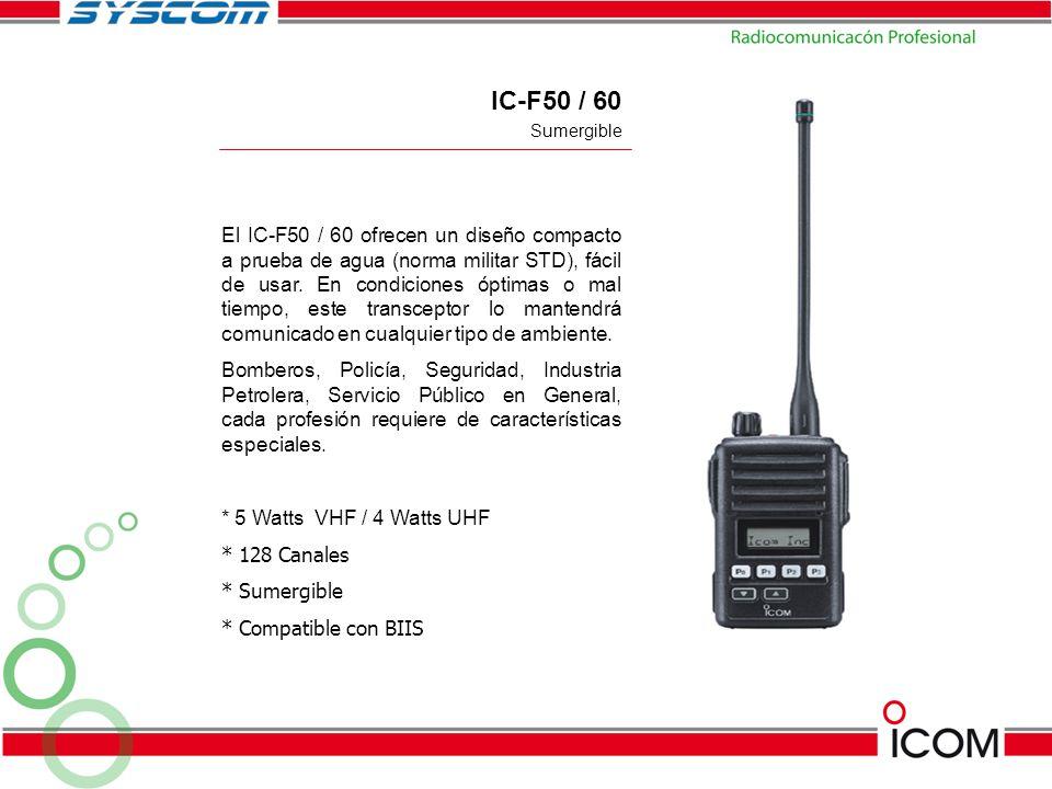 IC-F50 / 60 El IC-F50 / 60 ofrecen un diseño compacto a prueba de agua (norma militar STD), fácil de usar. En condiciones óptimas o mal tiempo, este t