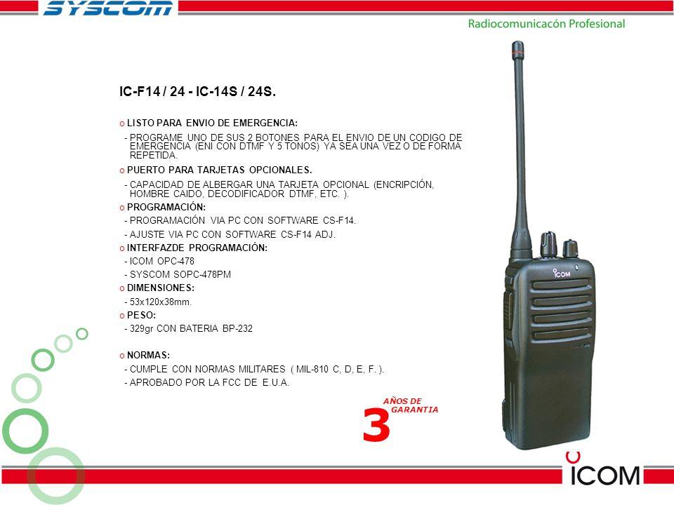 IC-F14 / 24 - IC-14S / 24S. o LISTO PARA ENVIO DE EMERGENCIA: - PROGRAME UNO DE SUS 2 BOTONES PARA EL ENVIO DE UN CODIGO DE EMERGENCIA (ENI CON DTMF Y