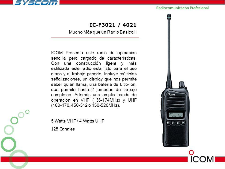 IC-F3021 / 4021 ICOM Presenta este radio de operación sencilla pero cargado de características. Con una construcción ligera y más estilizada este radi