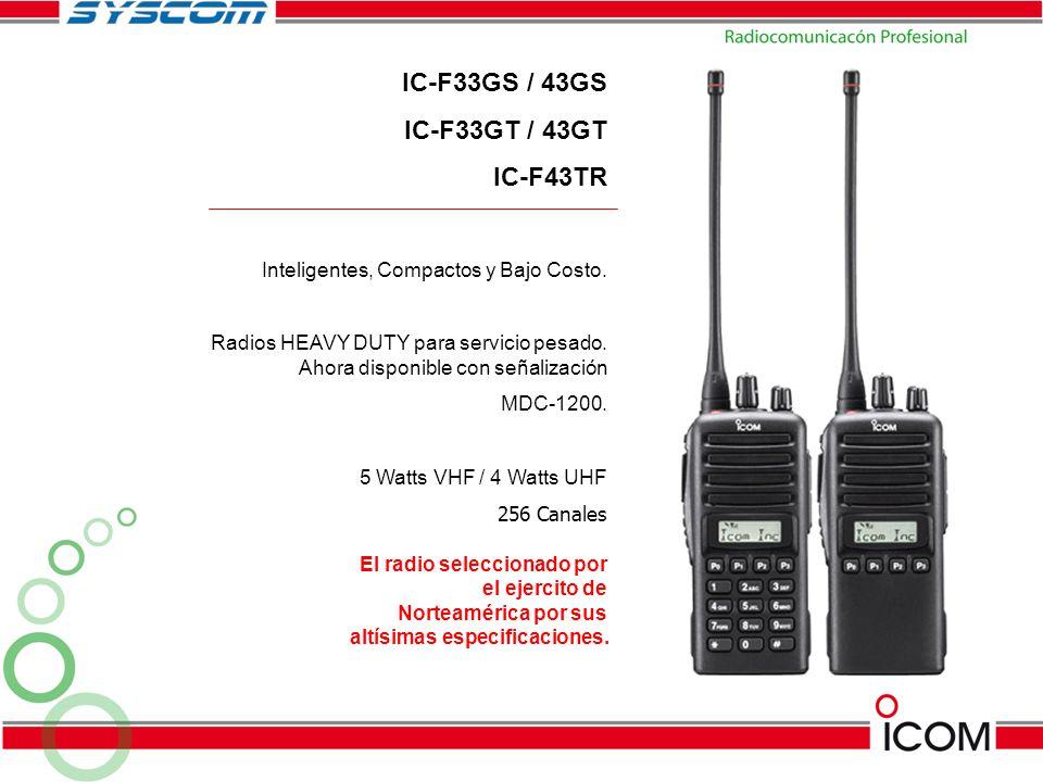Inteligentes, Compactos y Bajo Costo. Radios HEAVY DUTY para servicio pesado. Ahora disponible con señalización MDC-1200. 5 Watts VHF / 4 Watts UHF 25
