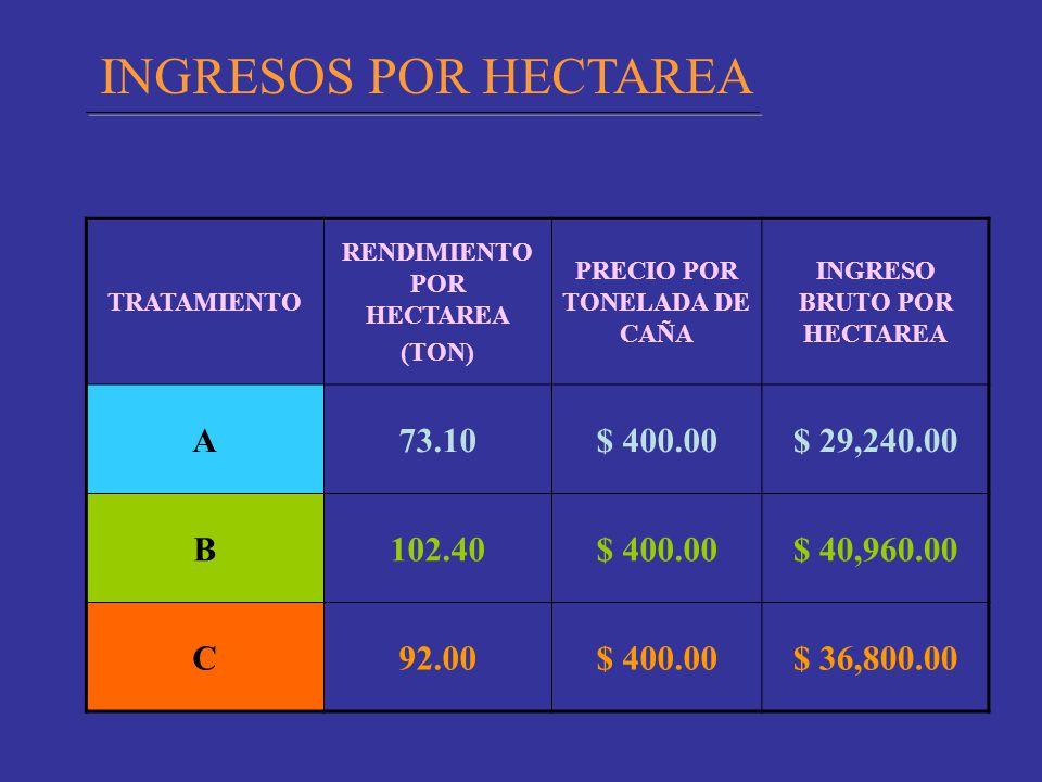 TRATAMIENTO RENDIMIENTO POR HECTAREA (TON) PRECIO POR TONELADA DE CAÑA INGRESO BRUTO POR HECTAREA A73.10$ 400.00$ 29,240.00 B102.40$ 400.00$ 40,960.00