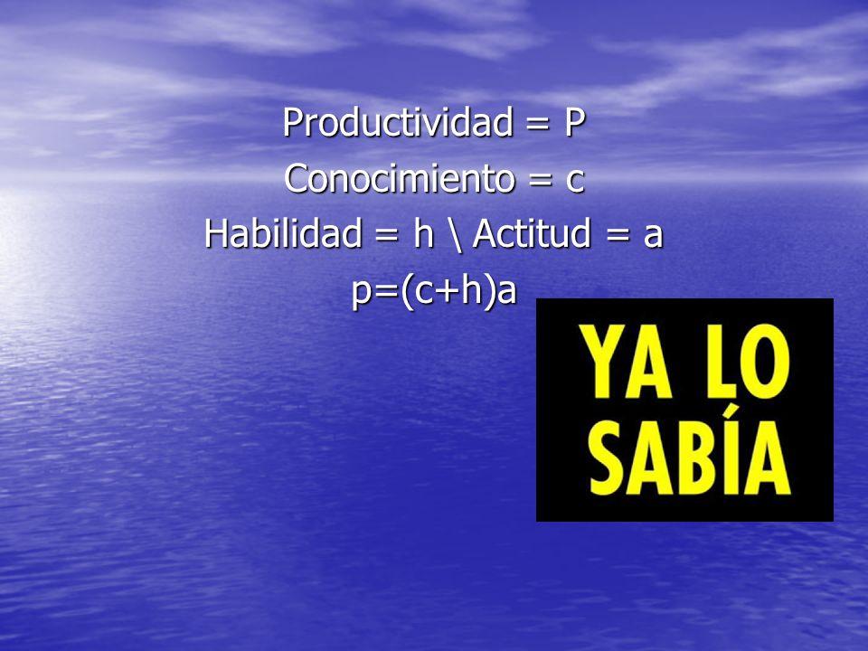 Productividad = P Conocimiento = c Habilidad = h \ Actitud = a p=(c+h)a
