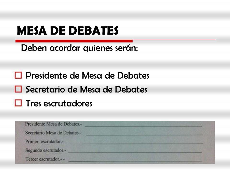 MESA DE DEBATES Deben acordar quienes serán: Presidente de Mesa de Debates Secretario de Mesa de Debates Tres escrutadores