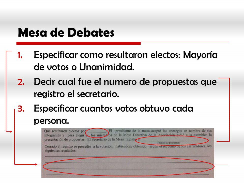 Mesa de Debates 1.Especificar como resultaron electos: Mayoría de votos o Unanimidad. 2.Decir cual fue el numero de propuestas que registro el secreta