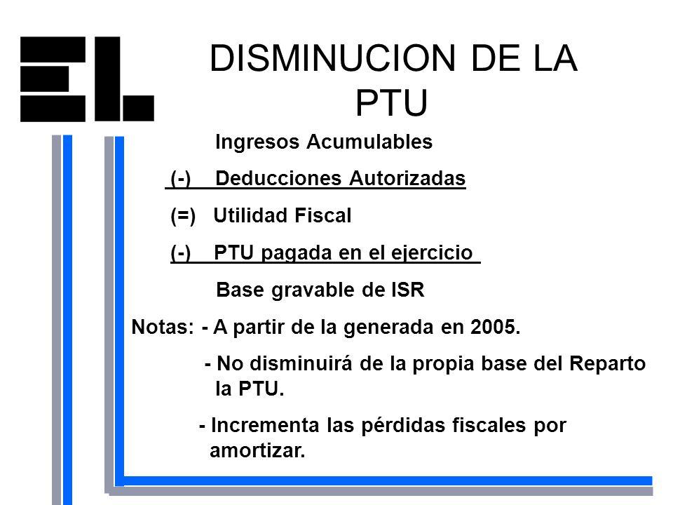 DISMINUCION DE LA PTU Ingresos Acumulables (-) Deducciones Autorizadas (=) Utilidad Fiscal (-) PTU pagada en el ejercicio Base gravable de ISR Notas: