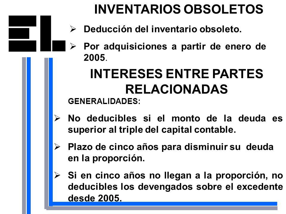INVENTARIOS OBSOLETOS Deducción del inventario obsoleto. Por adquisiciones a partir de enero de 2005. INTERESES ENTRE PARTES RELACIONADAS GENERALIDADE