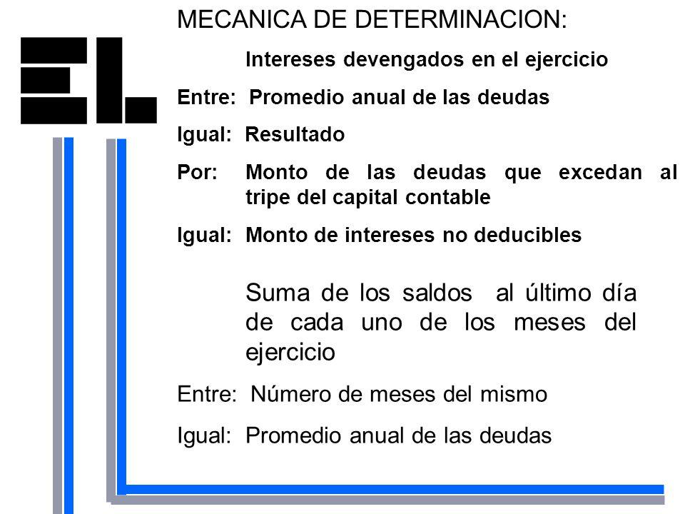 MECANICA DE DETERMINACION: Intereses devengados en el ejercicio Entre: Promedio anual de las deudas Igual: Resultado Por:Monto de las deudas que exced