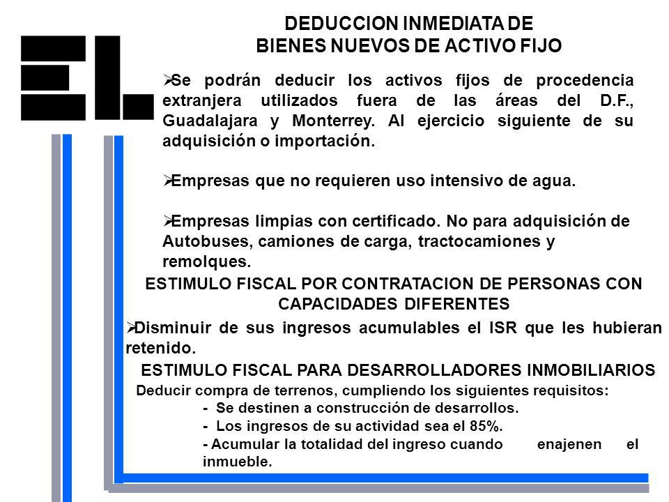 DEDUCCION INMEDIATA DE BIENES NUEVOS DE ACTIVO FIJO Se podrán deducir los activos fijos de procedencia extranjera utilizados fuera de las áreas del D.