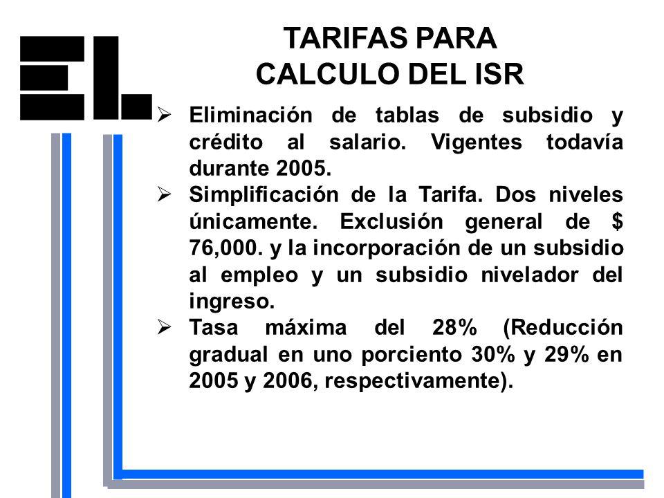 TARIFAS PARA CALCULO DEL ISR Eliminación de tablas de subsidio y crédito al salario. Vigentes todavía durante 2005. Simplificación de la Tarifa. Dos n