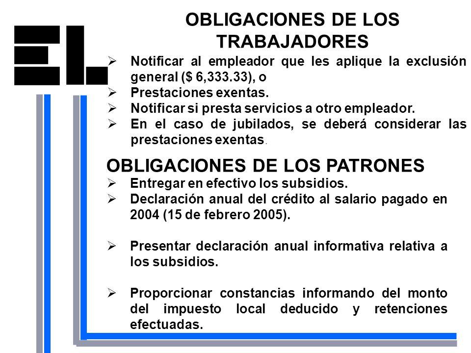 OBLIGACIONES DE LOS TRABAJADORES Notificar al empleador que les aplique la exclusión general ($ 6,333.33), o Prestaciones exentas. Notificar si presta