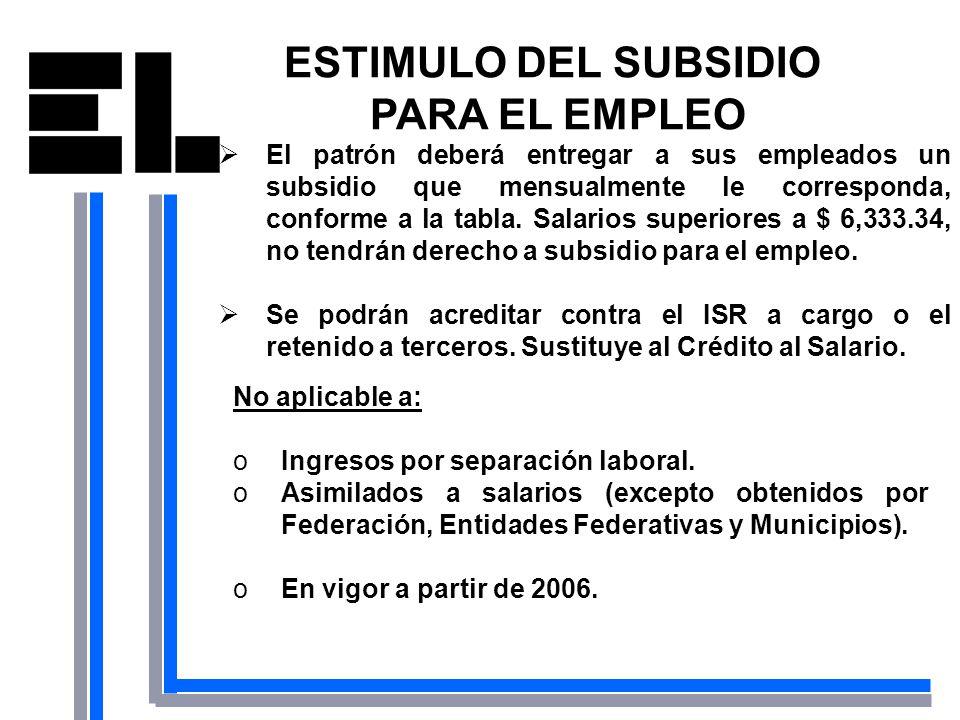 ESTIMULO DEL SUBSIDIO PARA EL EMPLEO El patrón deberá entregar a sus empleados un subsidio que mensualmente le corresponda, conforme a la tabla. Salar