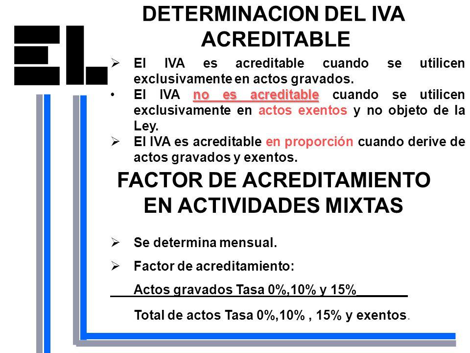 DETERMINACION DEL IVA ACREDITABLE El IVA es acreditable cuando se utilicen exclusivamente en actos gravados. no es acreditableEl IVA no es acreditable