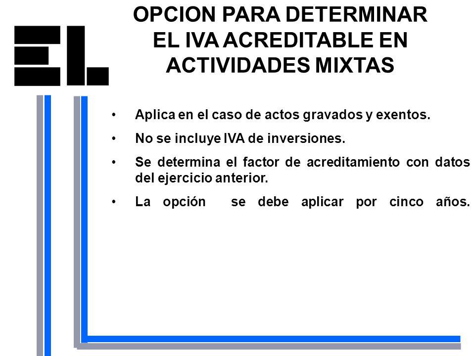 OPCION PARA DETERMINAR EL IVA ACREDITABLE EN ACTIVIDADES MIXTAS Aplica en el caso de actos gravados y exentos. No se incluye IVA de inversiones. Se de