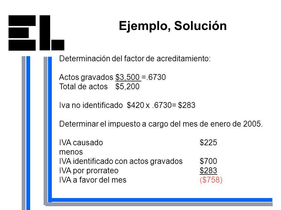 Ejemplo, Solución Determinación del factor de acreditamiento: Actos gravados$3,500 =.6730 Total de actos$5,200 Iva no identificado $420 x.6730= $283 D