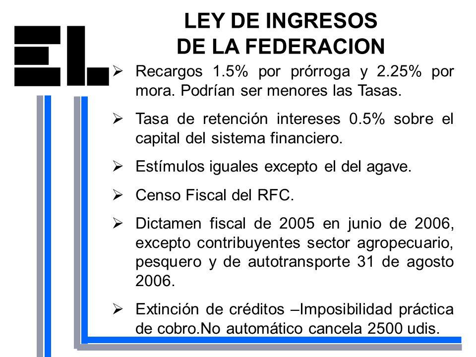 LEY DE INGRESOS DE LA FEDERACION Recargos 1.5% por prórroga y 2.25% por mora. Podrían ser menores las Tasas. Tasa de retención intereses 0.5% sobre el