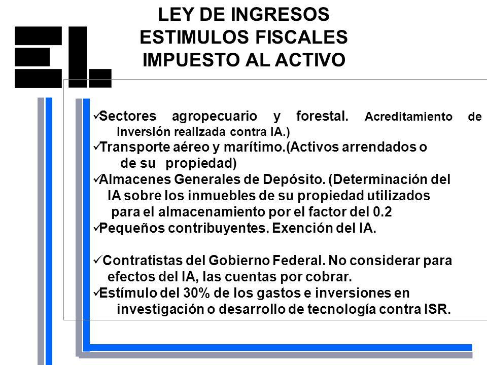 LEY DE INGRESOS ESTIMULOS FISCALES IMPUESTO AL ACTIVO Sectores agropecuario y forestal. Acreditamiento de inversión realizada contra IA.) Transporte a
