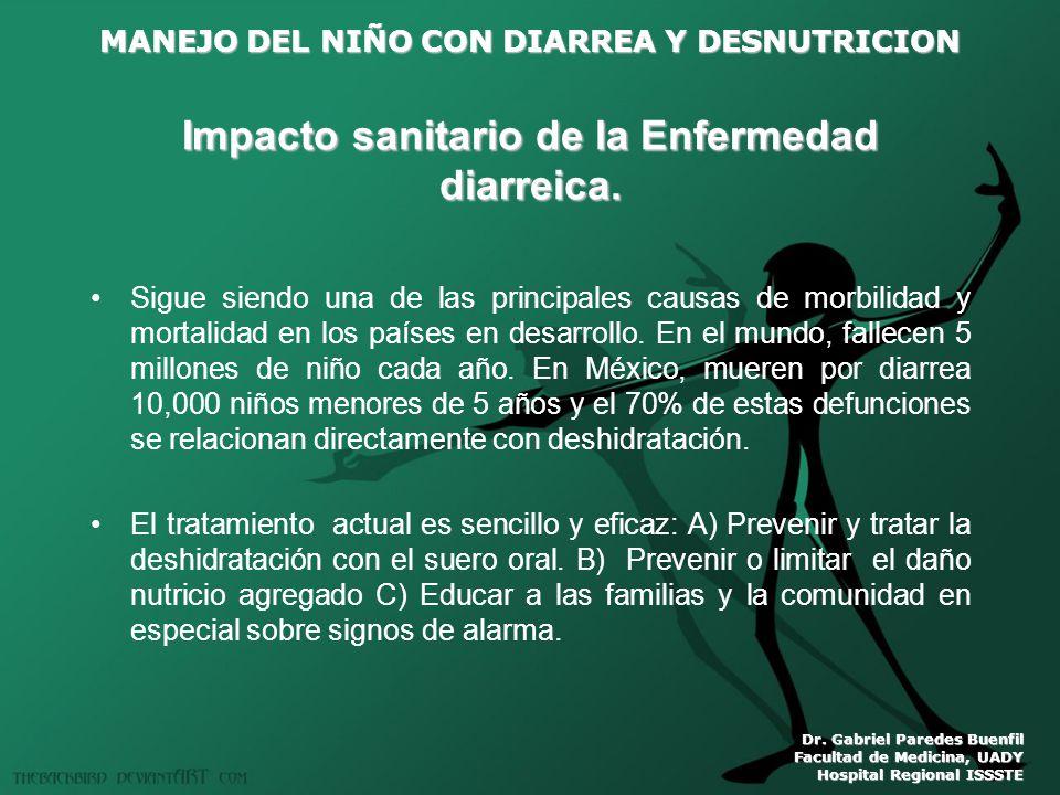 MANEJO DEL NIÑO CON DIARREA Y DESNUTRICION Dr. Gabriel Paredes Buenfil Facultad de Medicina, UADY Hospital Regional ISSSTE Impacto sanitario de la Enf
