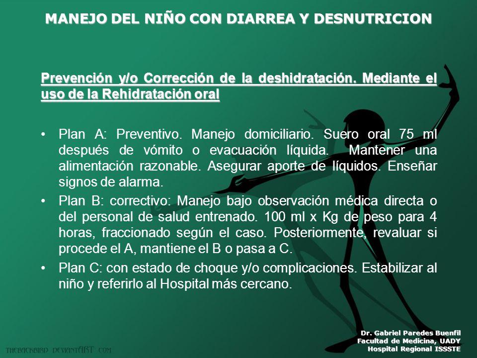 MANEJO DEL NIÑO CON DIARREA Y DESNUTRICION Dr. Gabriel Paredes Buenfil Facultad de Medicina, UADY Hospital Regional ISSSTE Prevención y/o Corrección d