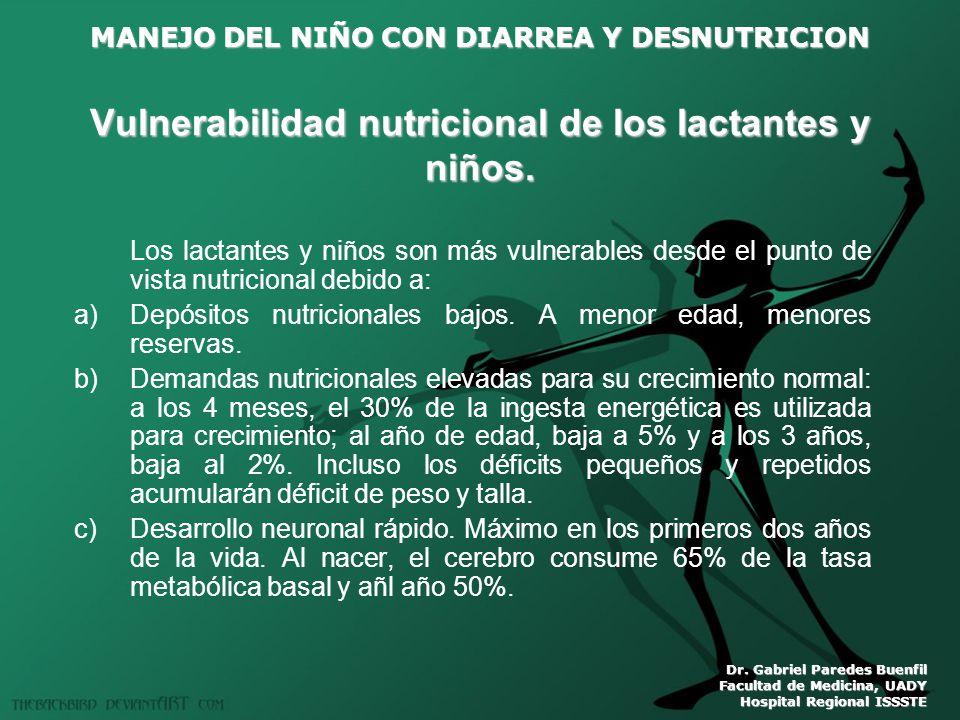 MANEJO DEL NIÑO CON DIARREA Y DESNUTRICION Dr. Gabriel Paredes Buenfil Facultad de Medicina, UADY Hospital Regional ISSSTE Vulnerabilidad nutricional