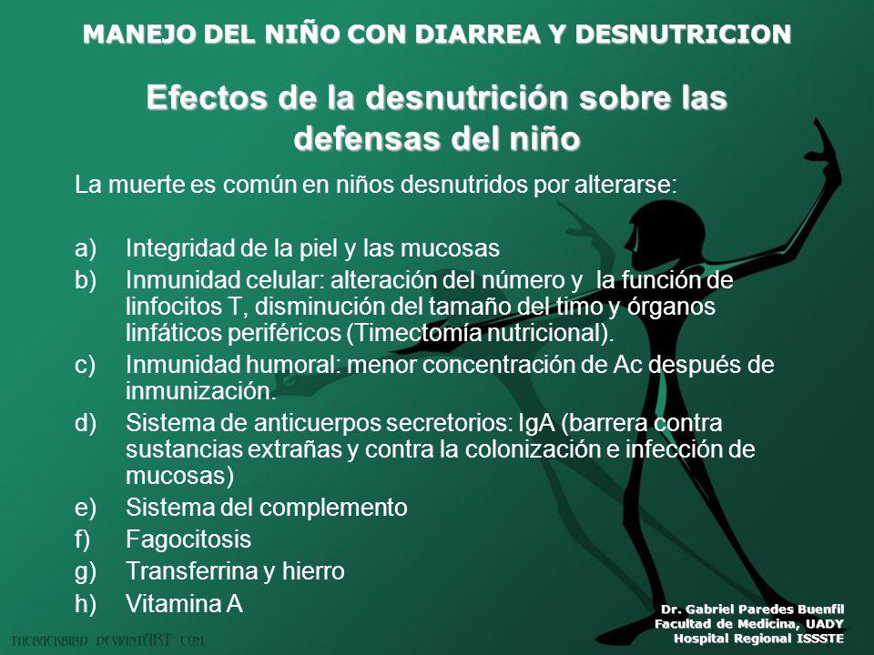 MANEJO DEL NIÑO CON DIARREA Y DESNUTRICION Dr. Gabriel Paredes Buenfil Facultad de Medicina, UADY Hospital Regional ISSSTE Efectos de la desnutrición