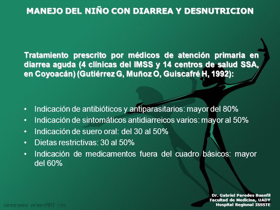 MANEJO DEL NIÑO CON DIARREA Y DESNUTRICION Dr. Gabriel Paredes Buenfil Facultad de Medicina, UADY Hospital Regional ISSSTE Tratamiento prescrito por m