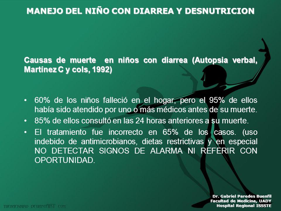 MANEJO DEL NIÑO CON DIARREA Y DESNUTRICION Dr. Gabriel Paredes Buenfil Facultad de Medicina, UADY Hospital Regional ISSSTE Causas de muerte en niños c