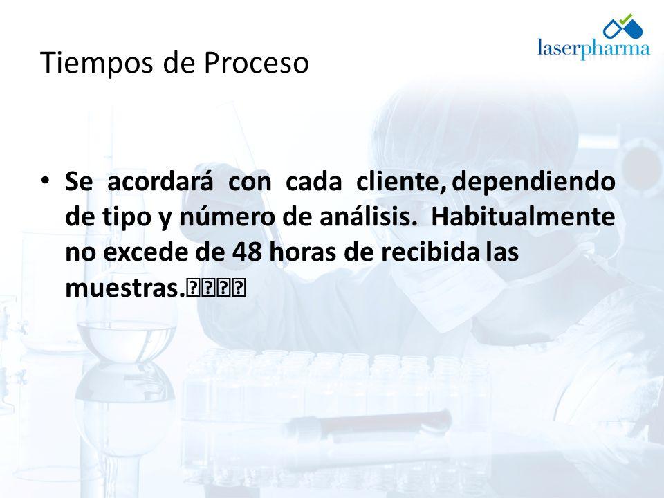 Tiempos de Proceso Se acordará con cada cliente, dependiendo de tipo y número de análisis. Habitualmente no excede de 48 horas de recibida las muestra