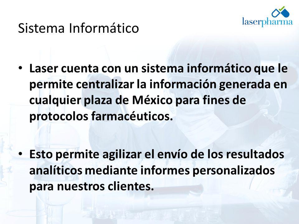 Sistema Informático Laser cuenta con un sistema informático que le permite centralizar la información generada en cualquier plaza de México para fines de protocolos farmacéuticos.
