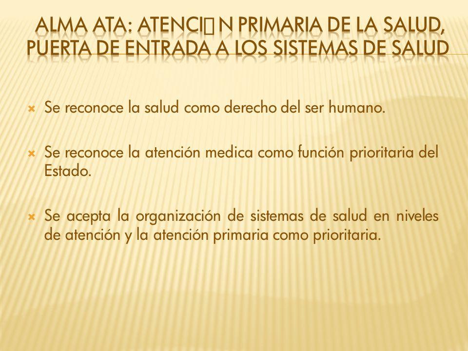 Se reconoce la salud como derecho del ser humano. Se reconoce la atención medica como función prioritaria del Estado. Se acepta la organización de sis