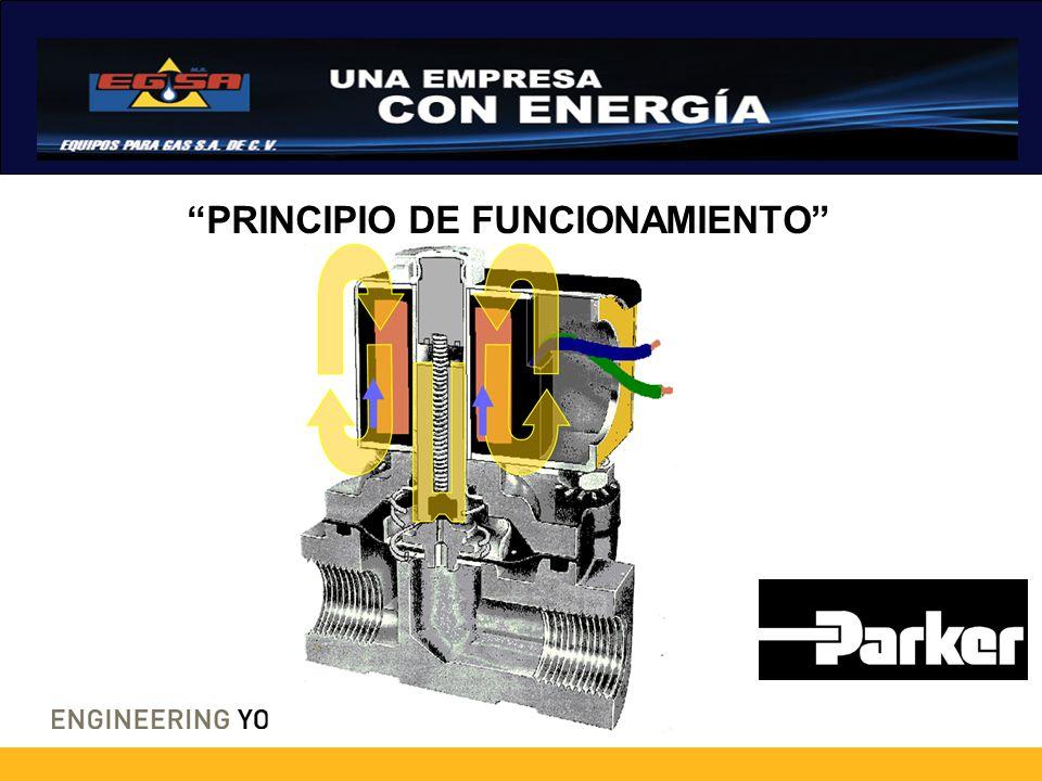TIPOS DE VÁLVULAS ACCIÓN DIRECTA: No se requiere presión mínima para operar 0 – 3000 PSI Bajo flujo.
