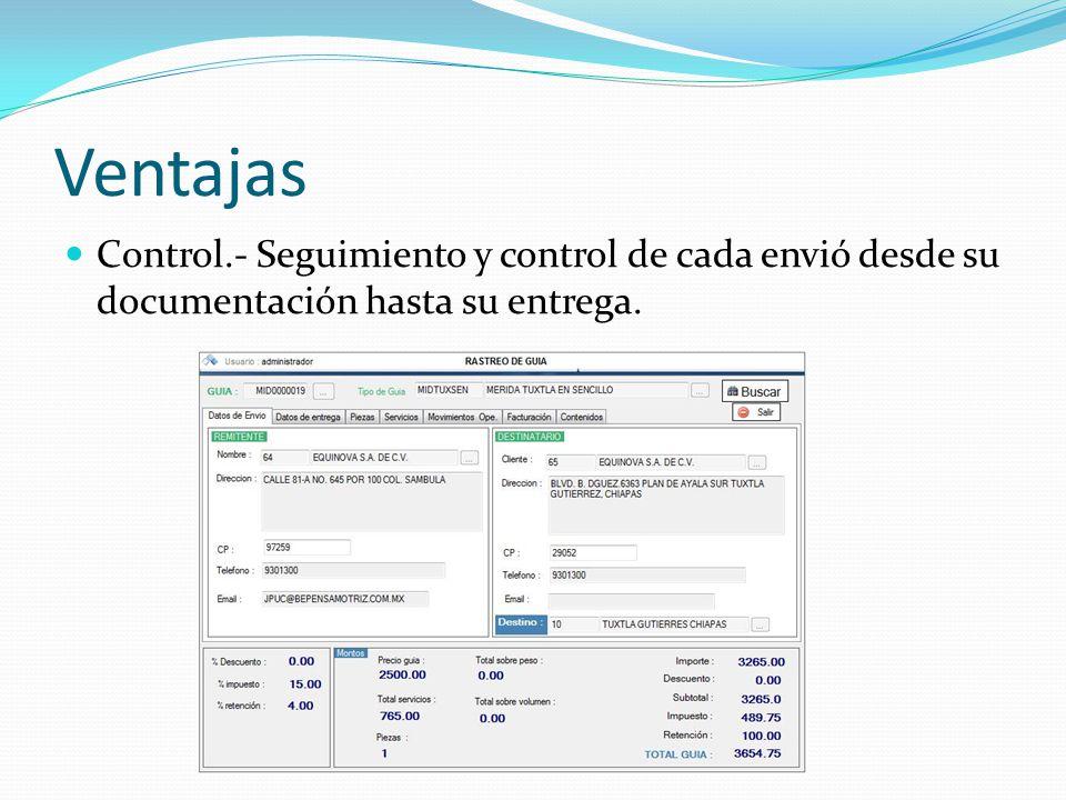 Ventajas Seguridad.- A través de un amplio control de permisos por cada usuario del sistema.