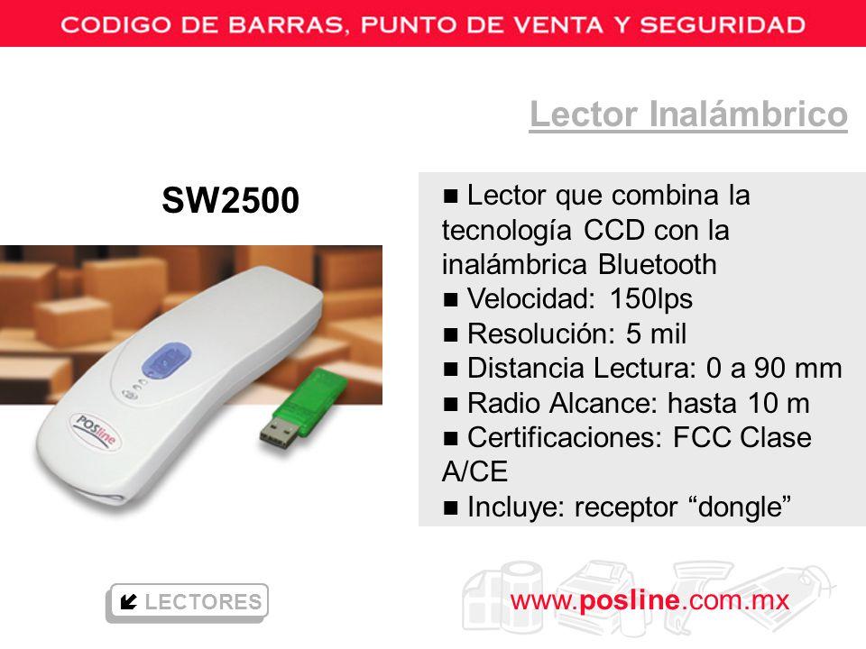 www.posline.com.mx Lector Inalámbrico LECTORES n Lector que combina la tecnología CCD con la inalámbrica Bluetooth n Velocidad: 150lps n Resolución: 5