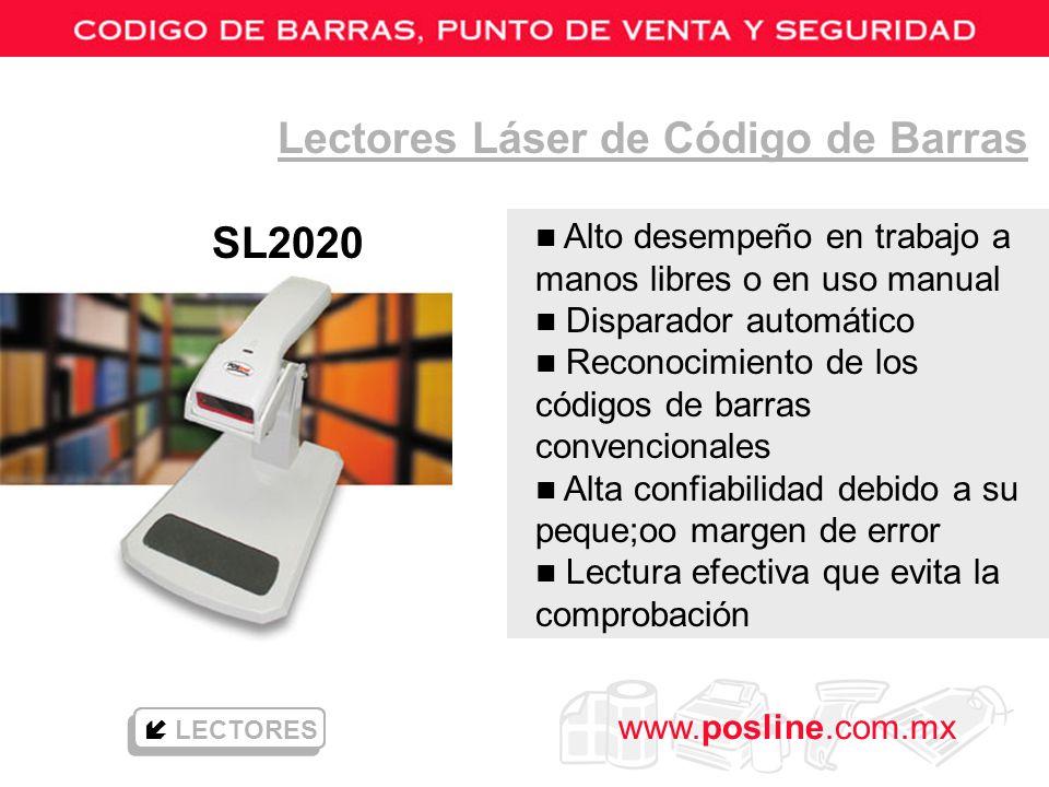 www.posline.com.mx Lectores Láser de Código de Barras SL2020 LECTORES n Alto desempeño en trabajo a manos libres o en uso manual n Disparador automáti