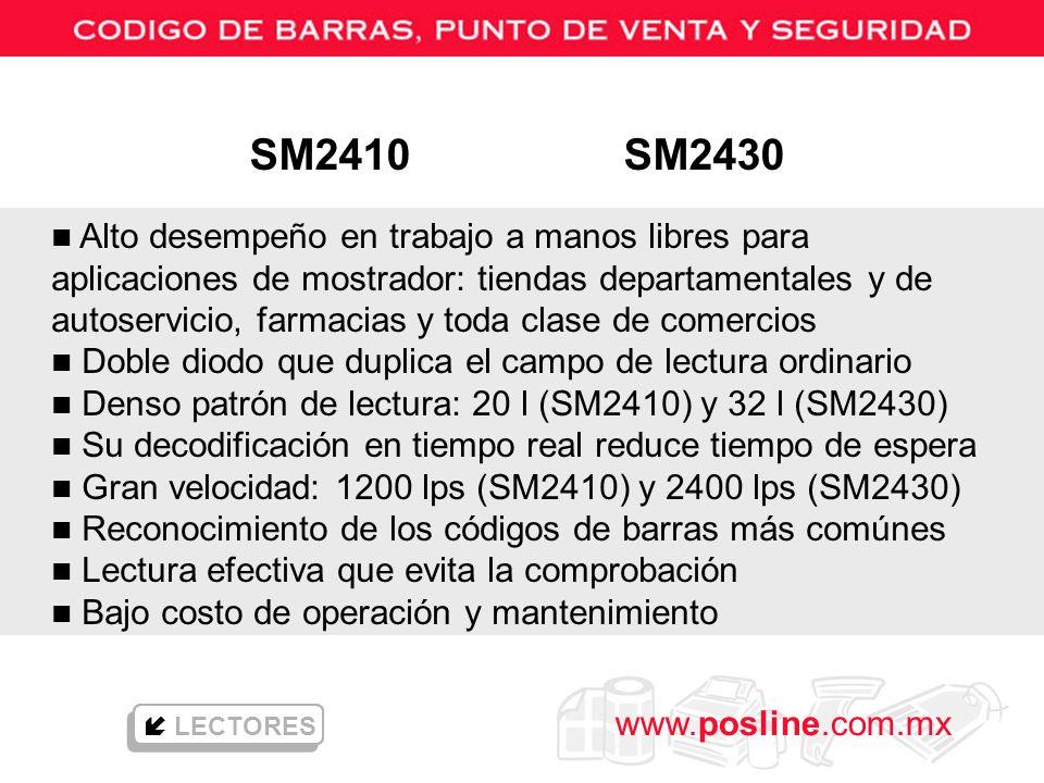 www.posline.com.mx LECTORES n Alto desempeño en trabajo a manos libres para aplicaciones de mostrador: tiendas departamentales y de autoservicio, farm