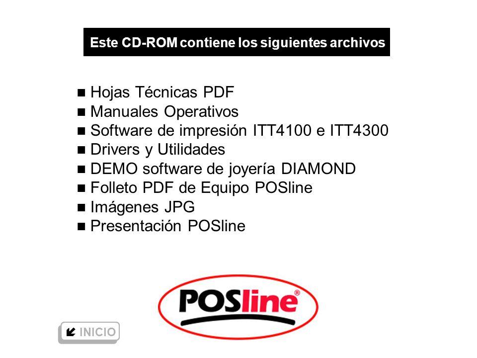 www.posline.com.mx Este CD-ROM contiene los siguientes archivos n Hojas Técnicas PDF n Manuales Operativos n Software de impresión ITT4100 e ITT4300 n