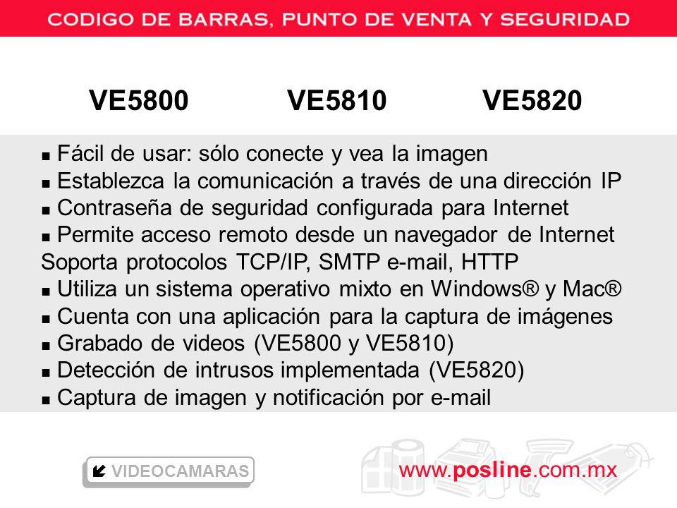 www.posline.com.mx n Fácil de usar: sólo conecte y vea la imagen n Establezca la comunicación a través de una dirección IP n Contraseña de seguridad c