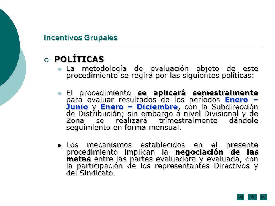 POLÍTICAS POLÍTICAS La metodología de evaluación objeto de este procedimiento se regirá por las siguientes políticas: La metodología de evaluación obj
