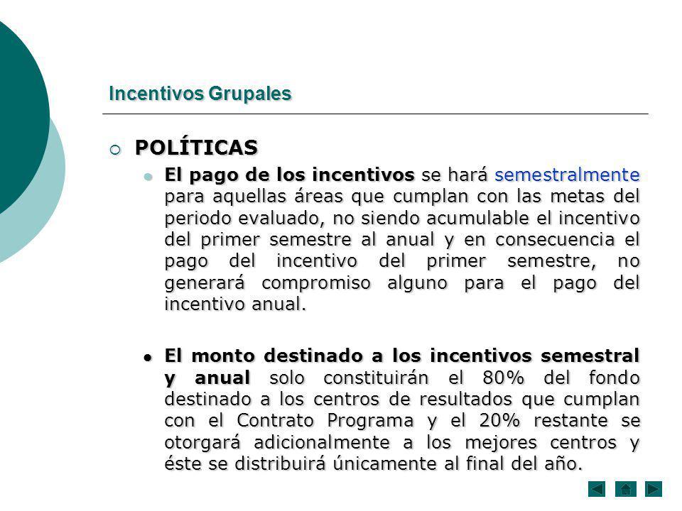 POLÍTICAS POLÍTICAS El pago de los incentivos se hará semestralmente para aquellas áreas que cumplan con las metas del periodo evaluado, no siendo acu