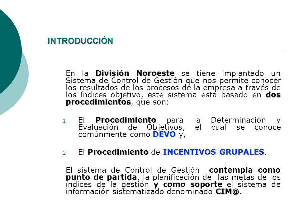 INTRODUCCIÓN División Noroeste dos procedimientos En la División Noroeste se tiene implantado un Sistema de Control de Gestión que nos permite conocer