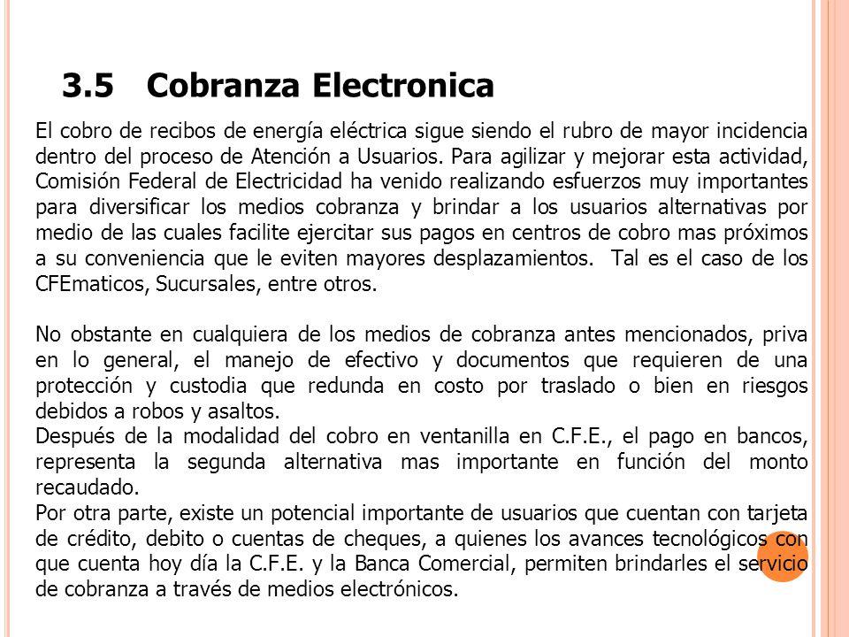 3.5Cobranza Electronica El cobro de recibos de energía eléctrica sigue siendo el rubro de mayor incidencia dentro del proceso de Atención a Usuarios.