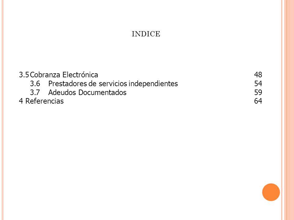 3.5Cobranza Electrónica 48 3.6 Prestadores de servicios independientes54 3.7Adeudos Documentados59 4 Referencias64 INDICE