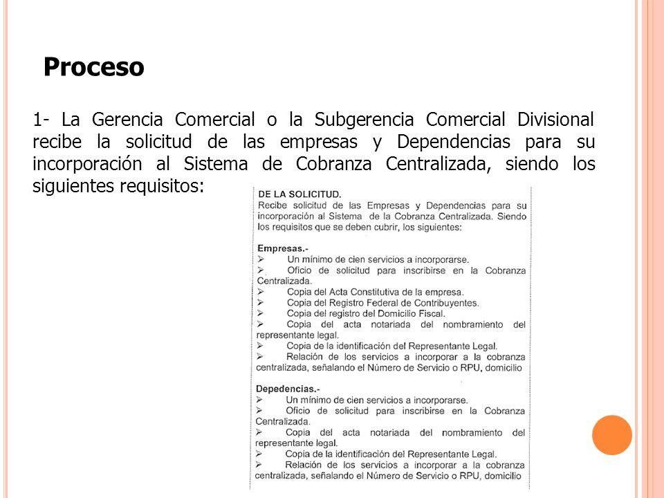 Proceso 1- La Gerencia Comercial o la Subgerencia Comercial Divisional recibe la solicitud de las empresas y Dependencias para su incorporación al Sis