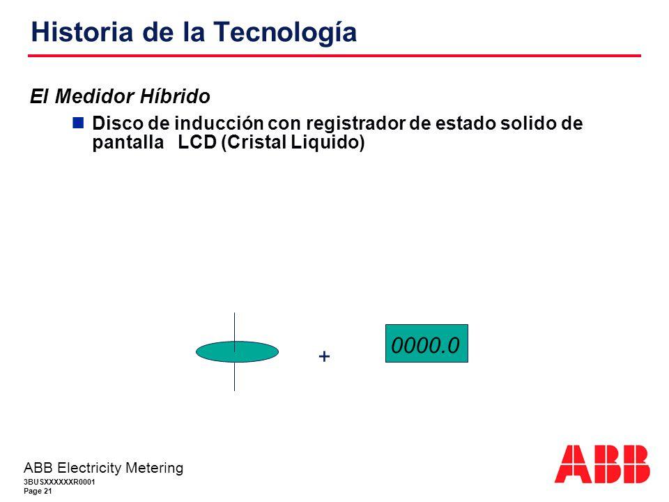 3BUSXXXXXXR0001 Page 21 ABB Electricity Metering Historia de la Tecnología El Medidor Híbrido Disco de inducción con registrador de estado solido de pantalla LCD (Cristal Liquido) + 0000.0