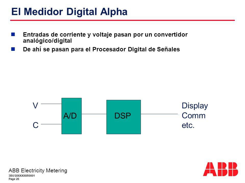3BUSXXXXXXR0001 Page 26 ABB Electricity Metering El Medidor Digital Alpha Entradas de corriente y voltaje pasan por un convertidor analógico/digital De ahí se pasan para el Procesador Digital de Señales A/D DSP VCVC Display Comm etc.