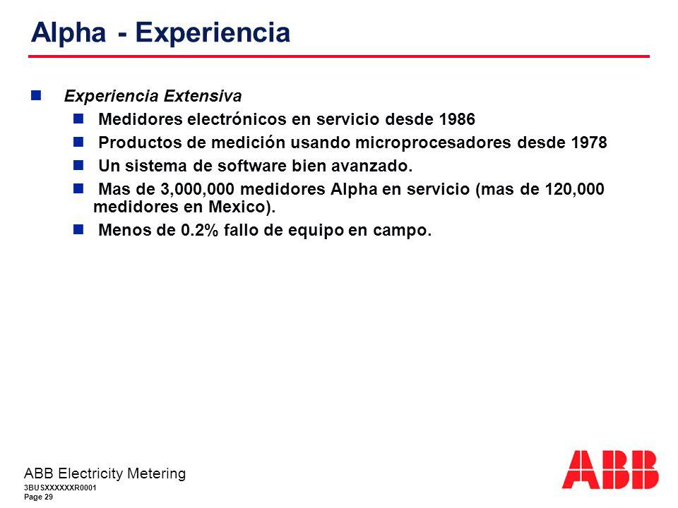 3BUSXXXXXXR0001 Page 29 ABB Electricity Metering Alpha - Experiencia Experiencia Extensiva Medidores electrónicos en servicio desde 1986 Productos de medición usando microprocesadores desde 1978 Un sistema de software bien avanzado.