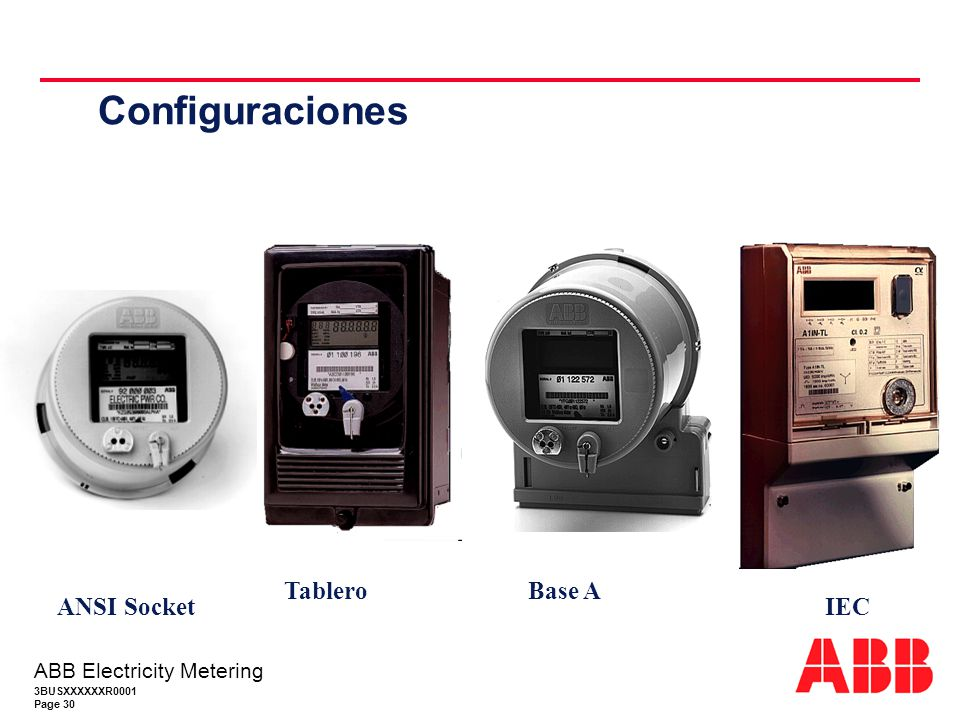 3BUSXXXXXXR0001 Page 30 ABB Electricity Metering Configuraciones Base A Tablero IEC ANSI Socket