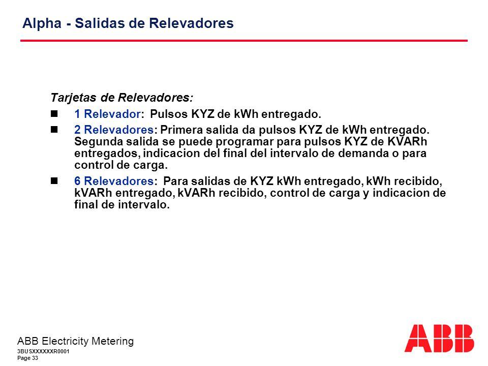 3BUSXXXXXXR0001 Page 33 ABB Electricity Metering Alpha - Salidas de Relevadores Tarjetas de Relevadores: 1 Relevador: Pulsos KYZ de kWh entregado.