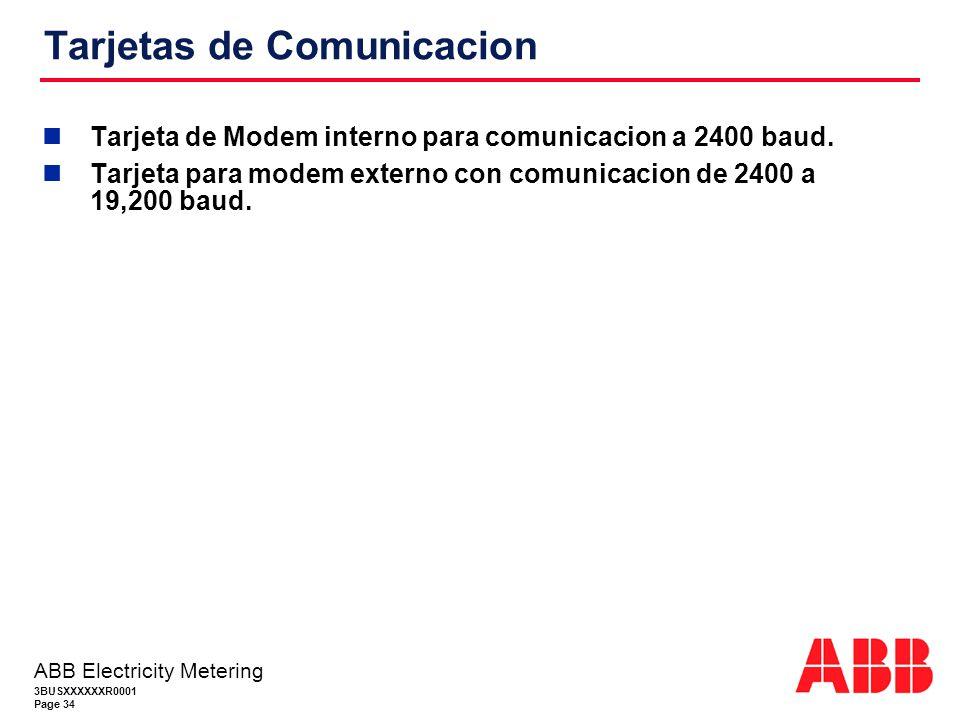 3BUSXXXXXXR0001 Page 34 ABB Electricity Metering Tarjetas de Comunicacion Tarjeta de Modem interno para comunicacion a 2400 baud.